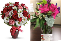 Sent a friend that moved out of state some flowers for Vday On the left is what I ordered on the right is what she got
