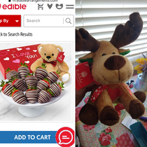 Sent my husband an Edible Arrangement that was supposed to come with a Valentines bear Instead he got an overstocked reindeer with a ribbon and foam heart hot glued to it
