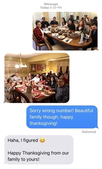Sent the wrong number a family photo was not disappointed happy thanksgiving yall