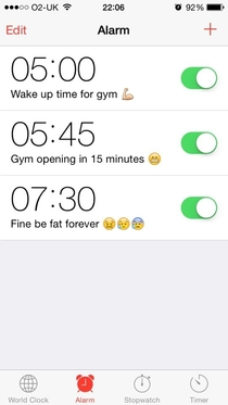 Setting my alarm to get up for the gym