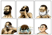 Shaving his beard