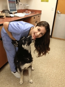 She accidentally French-kiss a dog at work