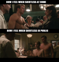 Shirtless at home vs public