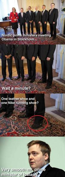 Shoe fail while meeting Obama
