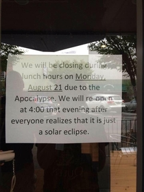 Shop closes for a pox eclipse