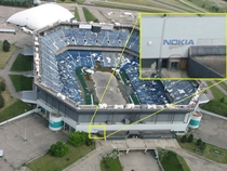 Shot of the Pontiac Silverdome after the implosion attempt