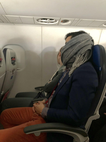 Shoutout to this hero He woke himself up snoring covered his mouth with his scarf and went back to sleep All I could hear was a slight rumble after that