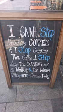 Sign outside a local coffee shop