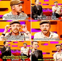 Simon Pegg and Tom Hanks discuss the time Simon attended a movie showing with Queen Elizabeth