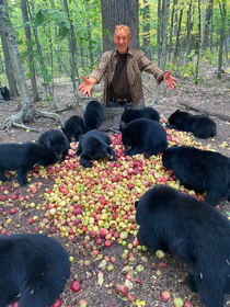 Sir Patrick Stewart proudly displaying his bears