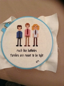 Sister-in-law made a Workaholics cross stitch