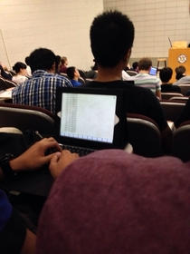 Sitting in a chem lecture when I notice the person in front of me is furiously typing I dont like chemistry