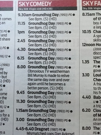 Sky Cinema is showing Groundhog Day all day - because its Groundhog Day