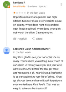 Small town restaurant reviews are the best