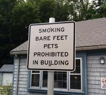 Smoking Bare Feet Pets Prohibited In Building