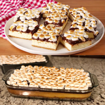 Smores cheesecake bars from Delish