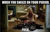 sneezing on your period