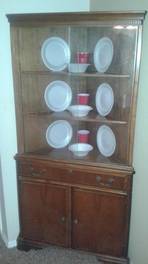 So a friend of mine recently got a china cabinet He doesnt own any china