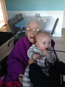 So grandma was thrilled to meet her first great-grandson