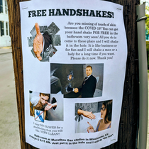 So I guess handshake glory holes are a thing now Thanks Coronavirus