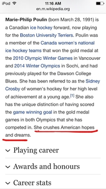 So I looked up Marie Philip Poulin the person who scored twice against the Americans in both Olympics and now I cant stop laughing