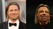 So I Was Sculpting This Brad Pitt Its A Tiny  Inch Head Sculpt With Polymerclay And Acrylic Paints And This Is The Result