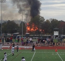So I was watching my little brother play football when the house behind the field caught fire The game didnt even get delayed