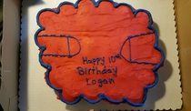 So my cousin got this basketball themed cake from Wal Mart for his birthday