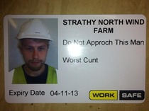 So my friend just got his new work ID welcome to Scotland NSFWish