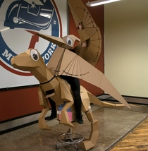 So my friend made herself into a pterodactyl riding a velociraptor with giant googly eyes