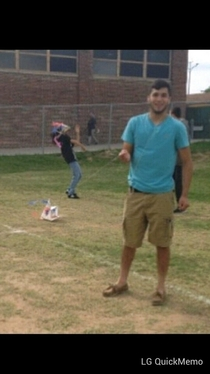 So my friend tried photo bombing his friend and was attacked by a kite