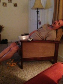 So my friends dad fell asleep and spilled his Cheetos It reminded me of Toy Story