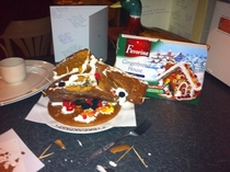 So my friends dad tried to make a gingerbread house