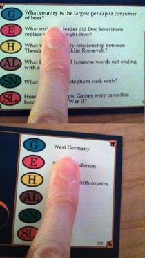 So my Trivial Pursuit may be a bit old
