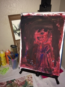 So my  yr daughter painted thisPretty sure this is how horror movies start