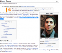 So someone updated Kevin Roses Wikipedia page