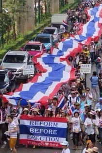 So Thailand protestors are currently walking through the streets with this banner
