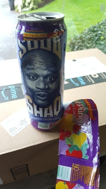 So the label was peeling off my friends fruit punch and Shaq was hiding underneath