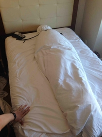 So this is how my friend left the bed in our hotel room