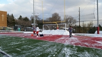 Soccer team didnt help us push the snow off the field This was the result