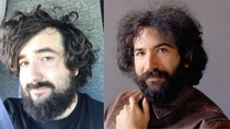 Some guy said I look like a young Jerry Garcia and asked to take a picture of me at a job site today I made this selfie comparison for reference