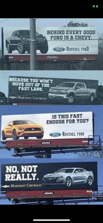 Some serious competition between two car dealerships