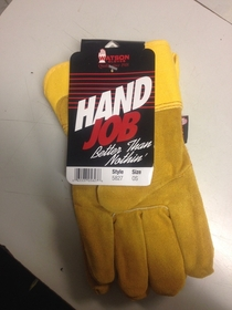 Some work gloves my boss handed me Who ever came up with the product label is a genius