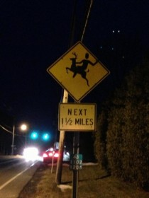 Somebody did this to all of the deer-crossing signs on my town