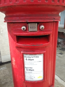 Somebody keeps putting googly eyes on the postboxes where I live