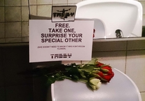 Somebody put these in the mens bathroom at the movie theater on valentines day