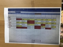 Somebody took a picture of an excel sheet schedule and printed that picture