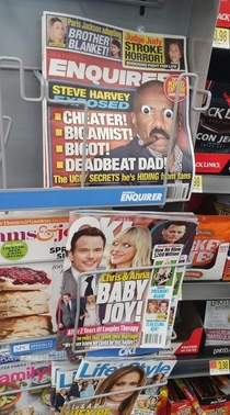 Someone is putting googly eyes on the magazines at Walmart