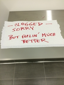 Someone left a note in the bathroom at work