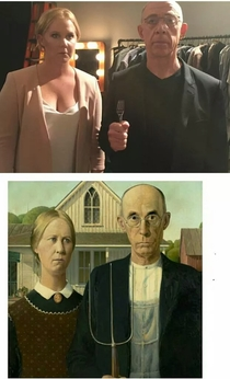 Someone on Twitter pointed out to Amy Schumer that she looks like the woman from American Gothic Her and JK Simmons quickly responded with a photo